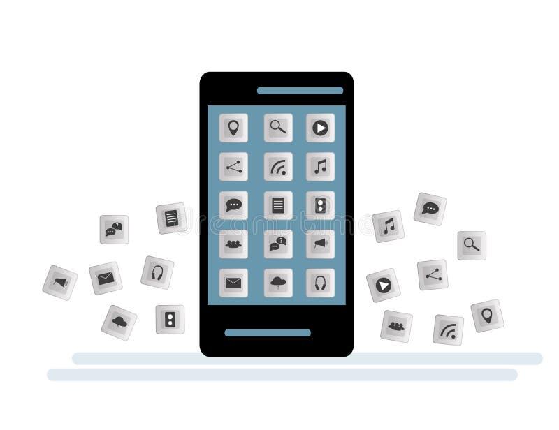 Smartphone preto com a nuvem dos ícones da aplicação e dos ícones de Apps que voam em torno deles, no fundo branco ilustração do vetor
