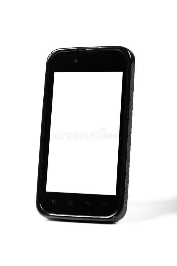 Smartphone preto com tela vazia imagens de stock