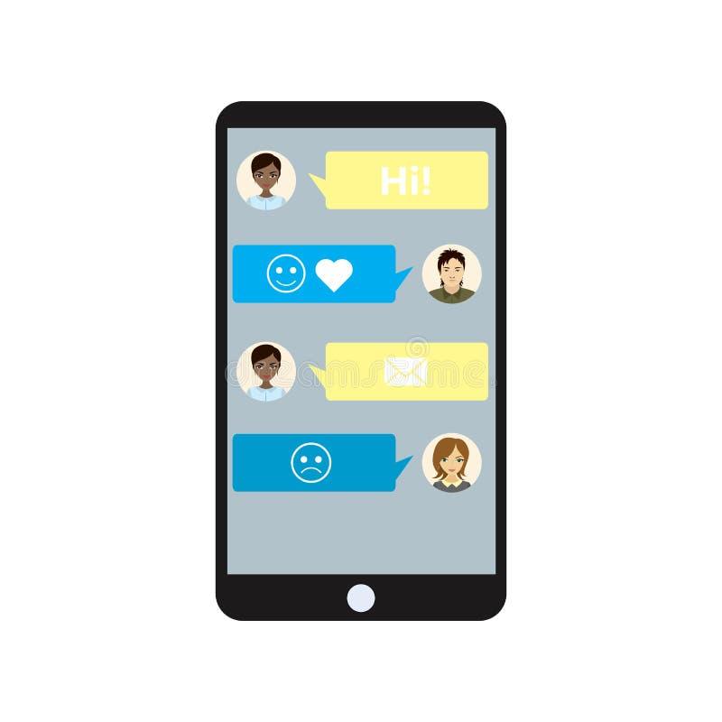 Smartphone preto isolado no fundo branco, conversando com smil ilustração do vetor