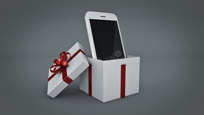 Smartphone Prezenta pudełka pojęcie ilustracji