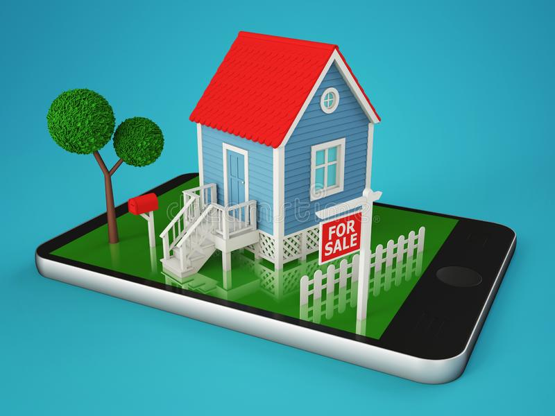 Smartphone with a private house for sale royalty free illustration