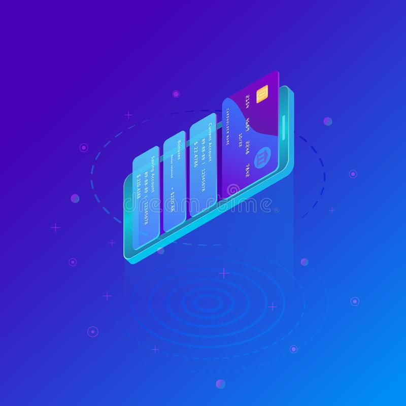 Virtual credit card pay online. Isometric smart phone and internet banking. E-commerce payment security transaction via prepaid card. Marketing concept. Money stock illustration
