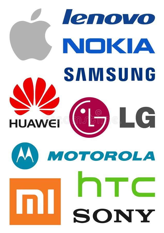 Smartphone-producentenemblemen royalty-vrije illustratie