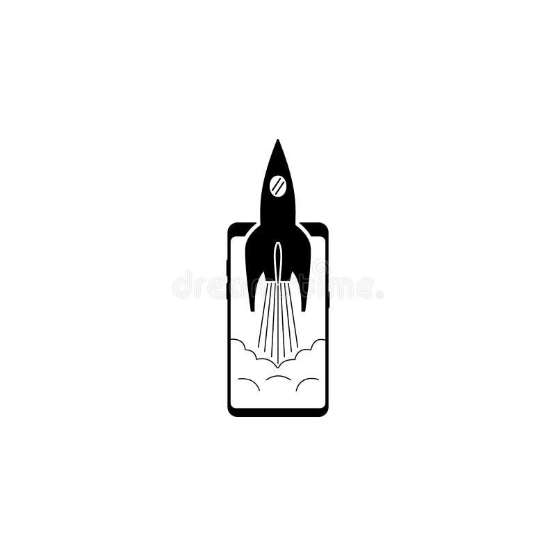 smartphone, propulseur, icône de vecteur de fusée pour des sites Web et conception plate minimalistic mobile illustration de vecteur