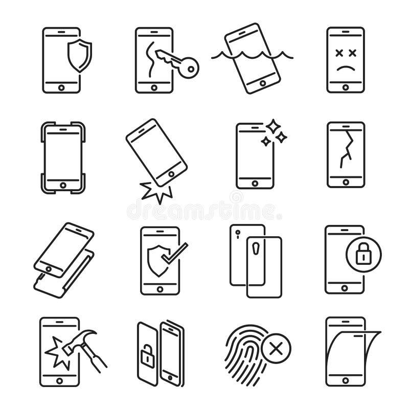 Smartphone protection icon set on white background stock illustration