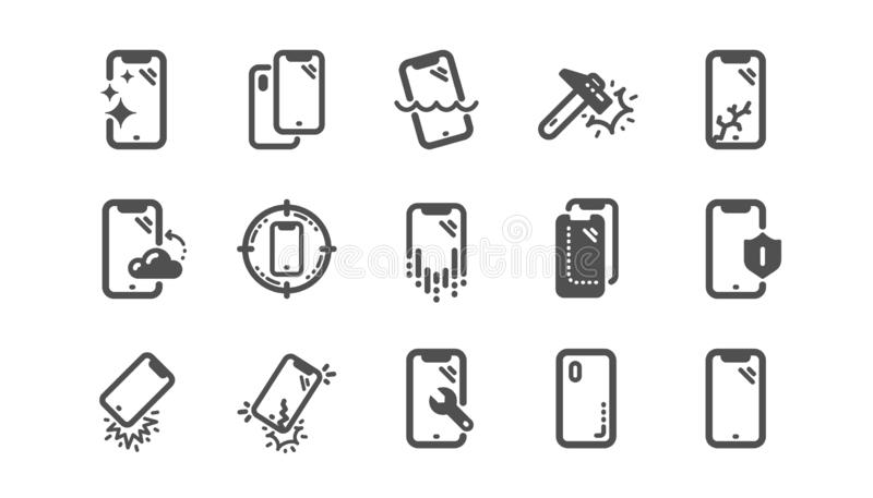 Smartphone protection icons. Tempered glass, screen protector and water resistant. Classic set. Vector. Smartphone protection icons. Tempered glass, screen vector illustration