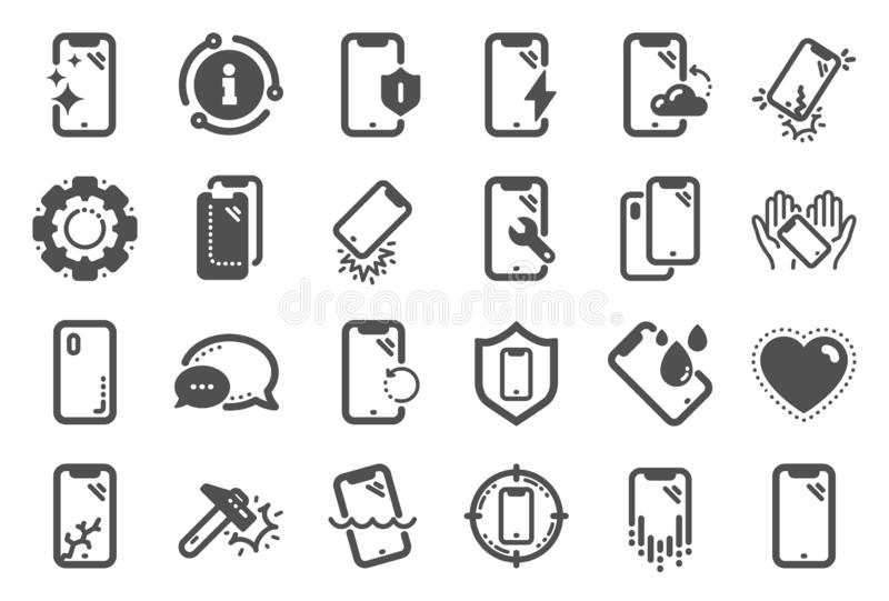 Smartphone protection icons. Tempered glass, screen protector and water resistant. Vector. Smartphone protection icons. Tempered glass, screen protector and vector illustration