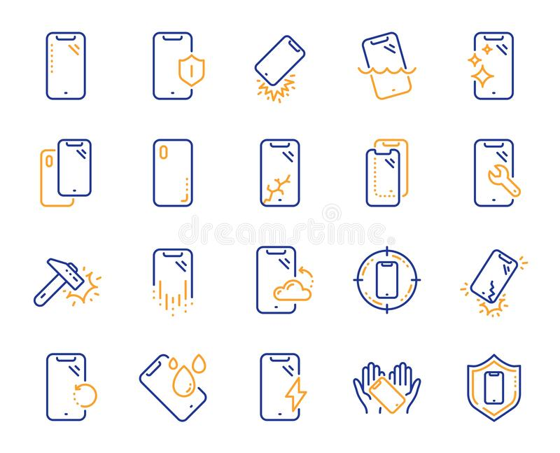 Smartphone protection line icons. Tempered glass, screen protector and water resistant. Vector. Smartphone protection line icons. Tempered glass, screen royalty free illustration