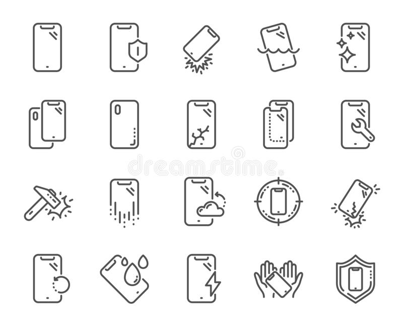 Smartphone protection line icons. Tempered glass, screen protector and water resistant. Vector. Smartphone protection line icons. Tempered glass, screen stock illustration
