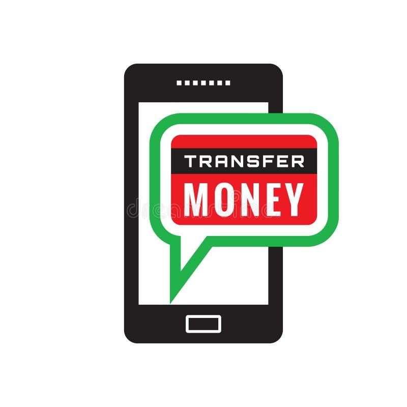 Smartphone przeniesienia pieniądze - wektorowa ikony pojęcia ilustracja Telefon komórkowy zapłaty znak elementy projektu podobień ilustracji