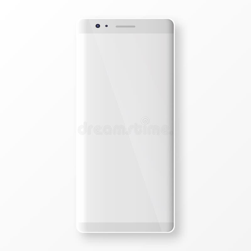 Smartphone pulito con lo schermo in bianco isolato su fondo bianco illustrazione vettoriale
