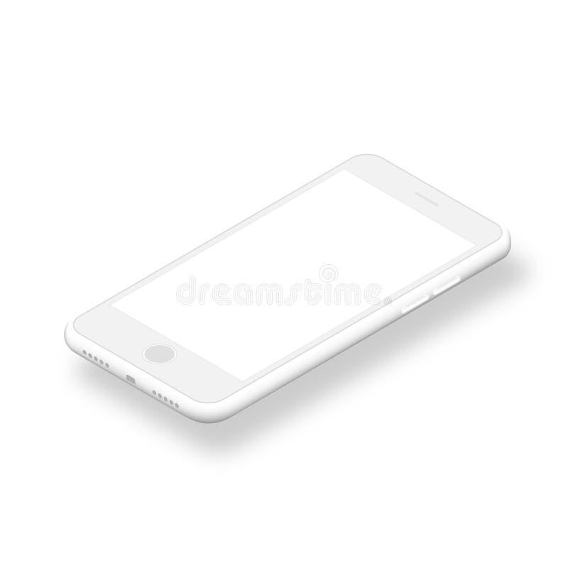 Smartphone pulito con lo schermo in bianco isolato su fondo bianco royalty illustrazione gratis