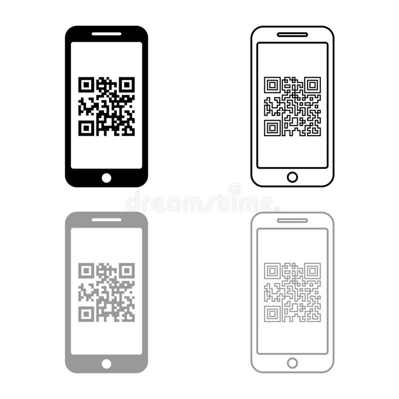 Smartphone with QR code on screen icon outline set black grey color vector illustration flat style image. Smartphone with QR code on screen icon outline set stock illustration