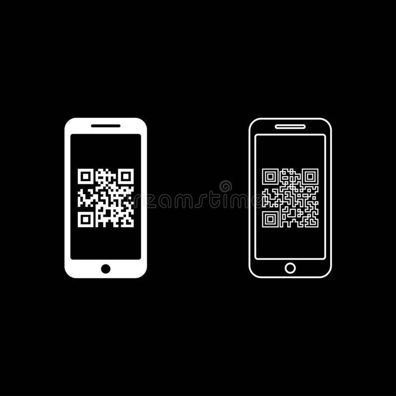 Smartphone with QR code on screen icon outline set white color vector illustration flat style image. Smartphone with QR code on screen icon outline set white stock illustration