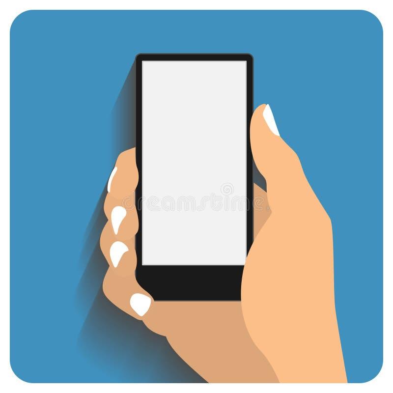 Smartphone que agujerea de la mano ilustración del vector