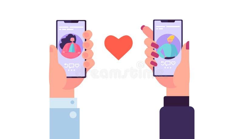 Smartphone que fecha el uso para encontrar amor Manos que sostienen el móvil con el App romántico del perfil del hombre y de la m ilustración del vector