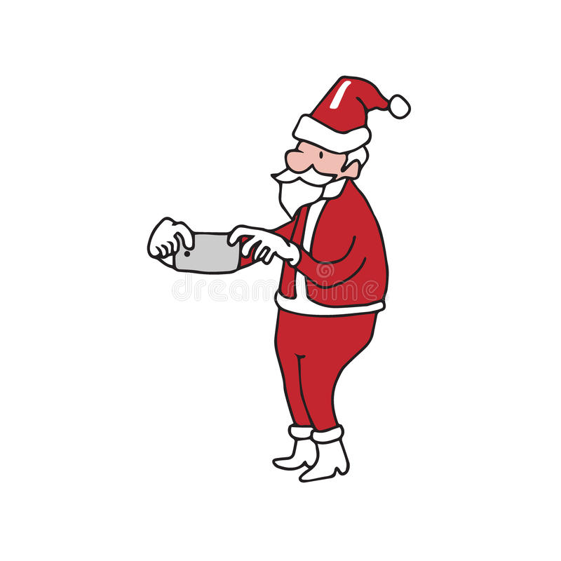 Smartphone que toma la imagen Papá Noel ilustración del vector