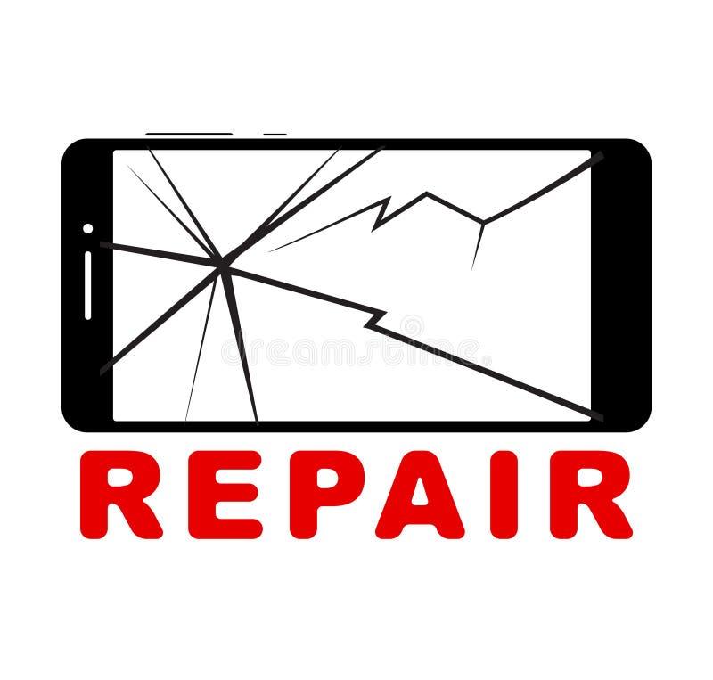Smartphone quebrado com tela táctil rachado, telefone celular liso ilustração stock