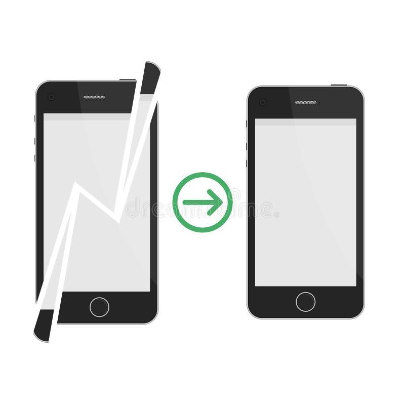 Smartphone quebrado y reparado ilustración del vector