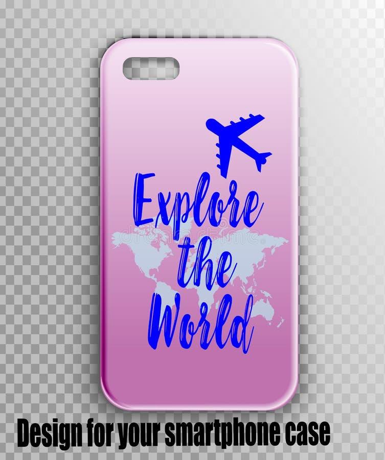 Smartphone räkning för handelsresanden - ett härligt märkes- tryck med en världskarta och ett flygplan vektor illustrationer