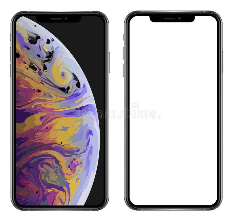 Smartphone réaliste tout neuf de téléphone portable dans l'iPhone XS d'Apple maximum illustration stock