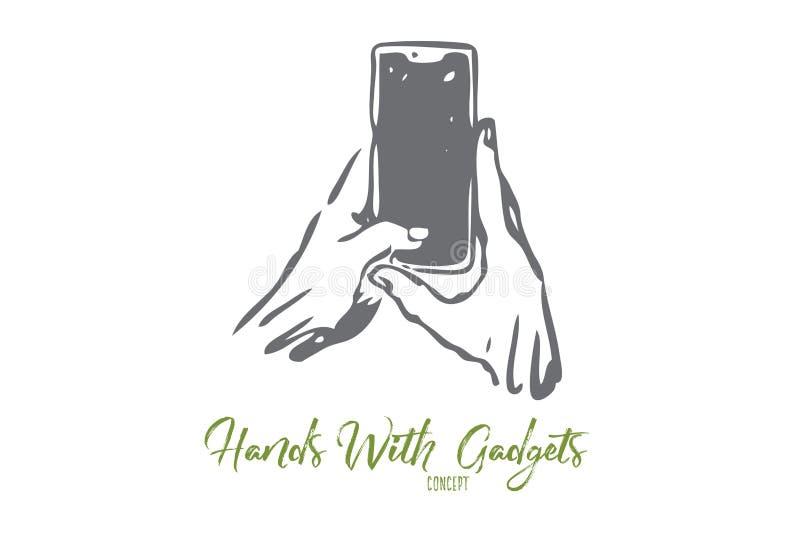 Smartphone, ręka, pisać na maszynie, ekran, gadżetu pojęcie R?ka rysuj?cy odosobniony wektor royalty ilustracja