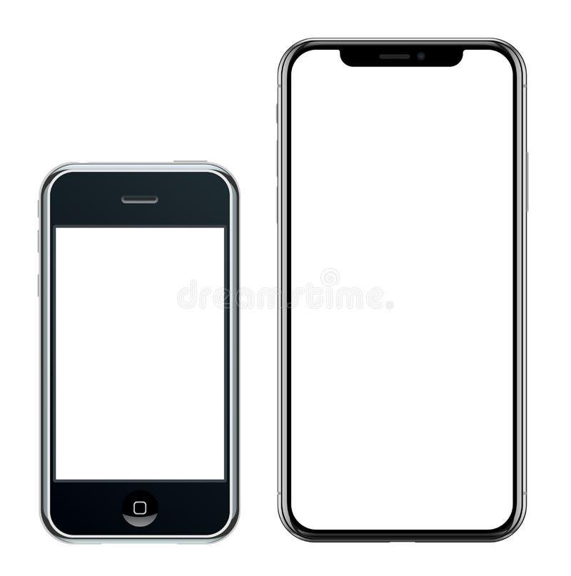 Smartphone realístico brandnew do preto do telefone celular no iPhone de Apple e no iPhone X ilustração royalty free