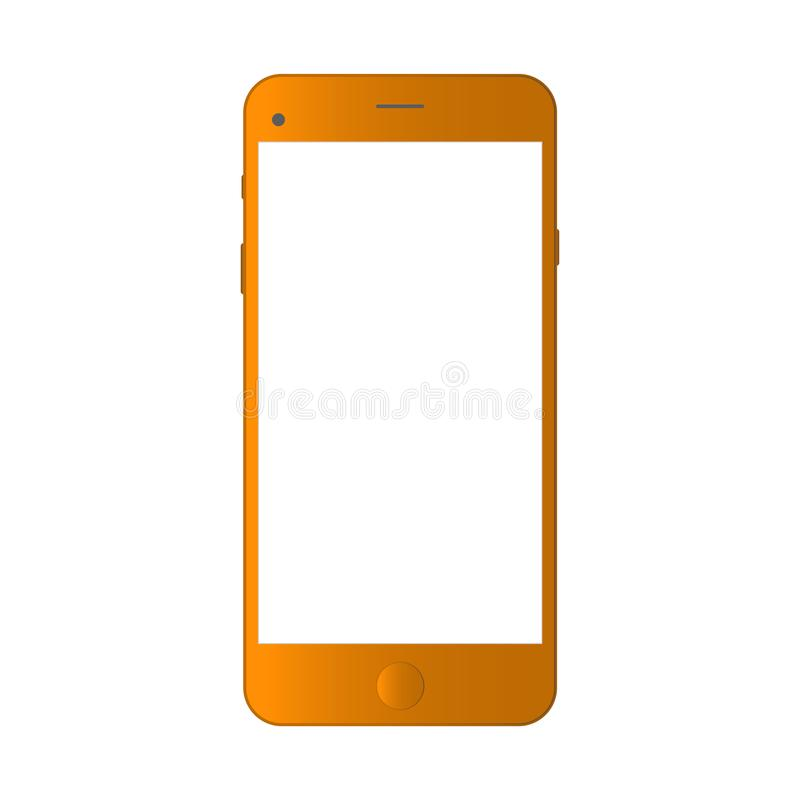 Smartphone realístico do orangotango isolado no fundo branco Ilustração realística do iphon do vetor de Smartphone Modelo do tele ilustração royalty free