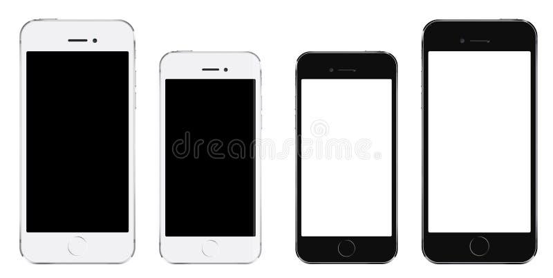 Smartphone realista a estrenar del negro del teléfono móvil en dos tallas m ilustración del vector