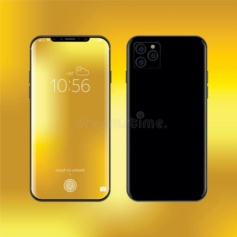New iPhone 2019 model. Smartphone realistic vector illustration. New frameless black smart phone design concept vector illustration