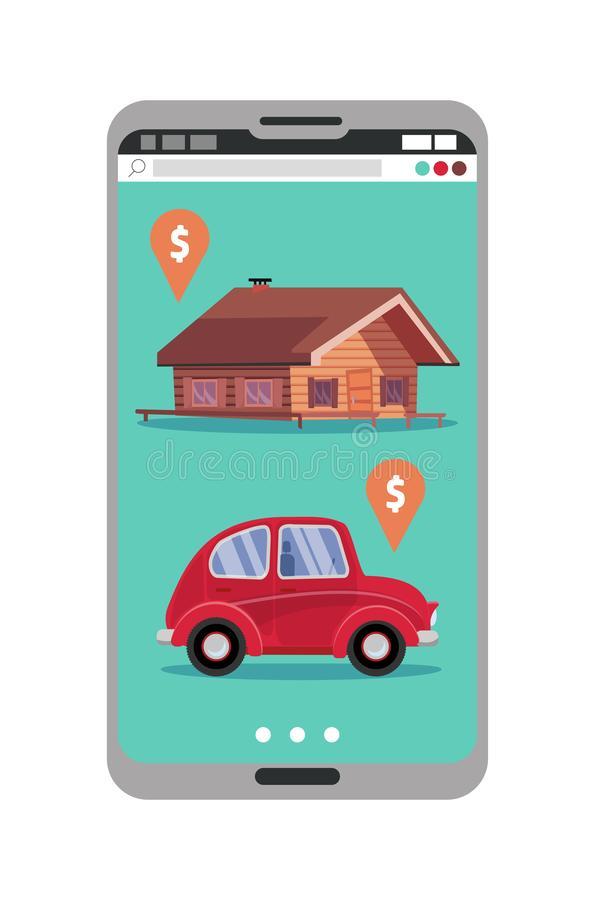 Smartphone with realty and car sales marketplace application featuring house and small classic city car with price tags. Online stock illustration