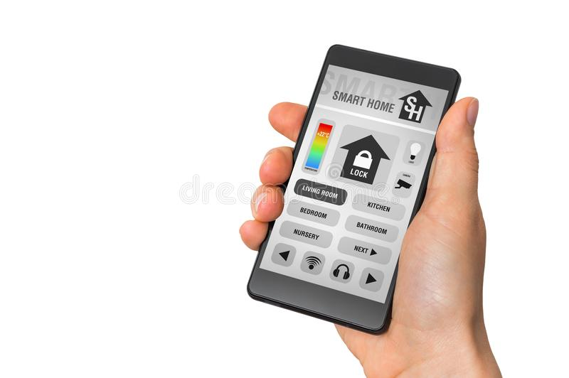 Smartphone with remote smart home control system on white royalty free stock images