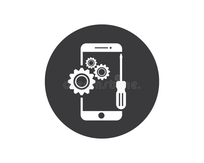 smartphone repair logo icon illustration design royalty free illustration