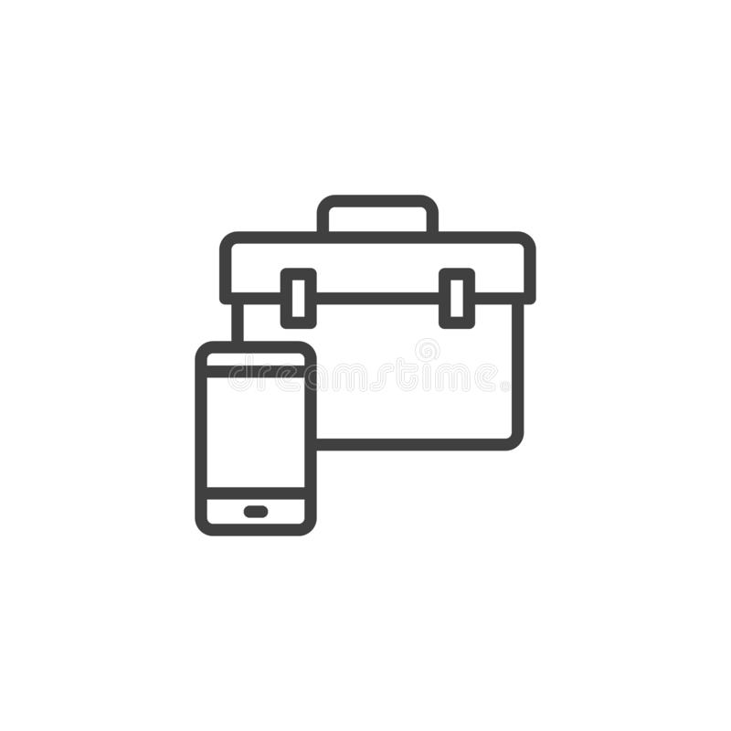 Smartphone with repair tool bag line icon. Linear style sign for mobile concept and web design. Mobile phone repair outline vector icon. Symbol, logo vector illustration