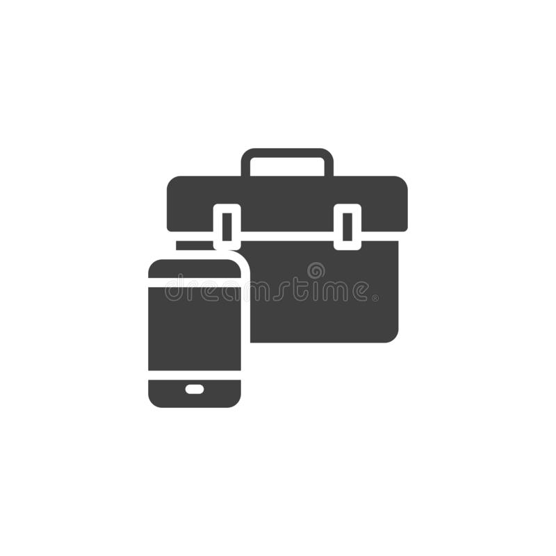 Smartphone with repair tool bag vector icon. Filled flat sign for mobile concept and web design. Mobile phone repair glyph icon. Symbol, logo illustration vector illustration