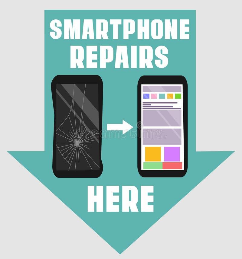 Smartphone repara la muestra plana del diseño Vector el ejemplo del teléfono quebrado y reparado con los indicadores indicativos  stock de ilustración