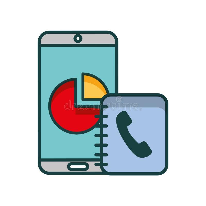 Smartphone report chart address book telephone. Vector illustration vector illustration