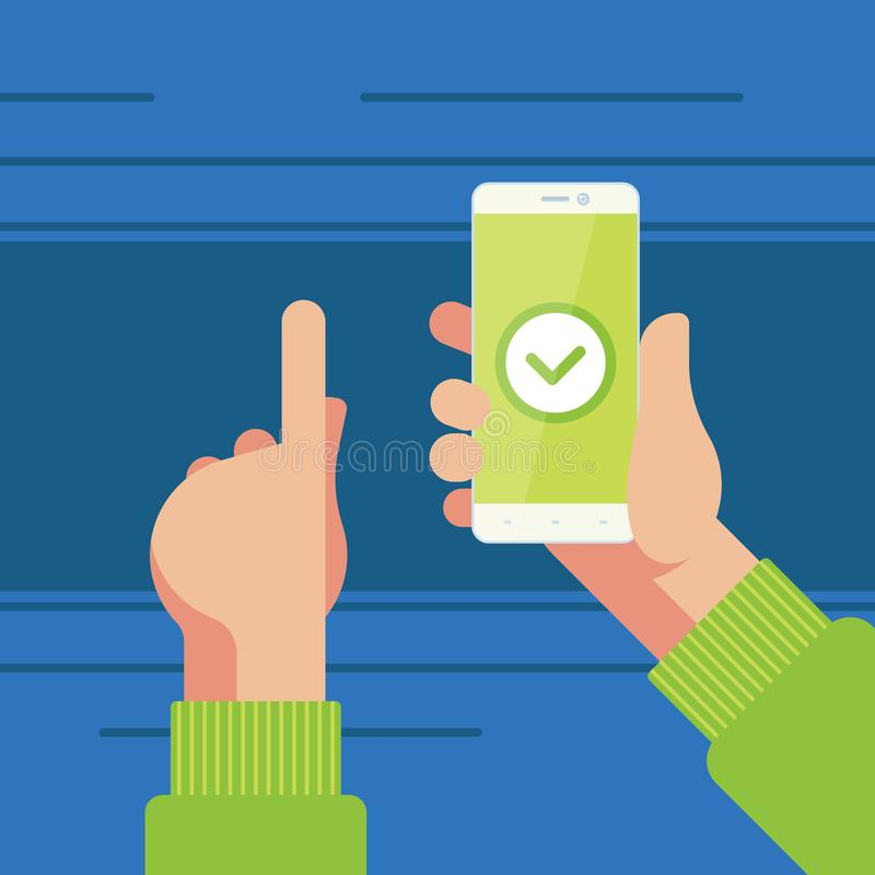 Smartphone in right hand and left hand pointing to confirmation button on the screen. royalty free illustration