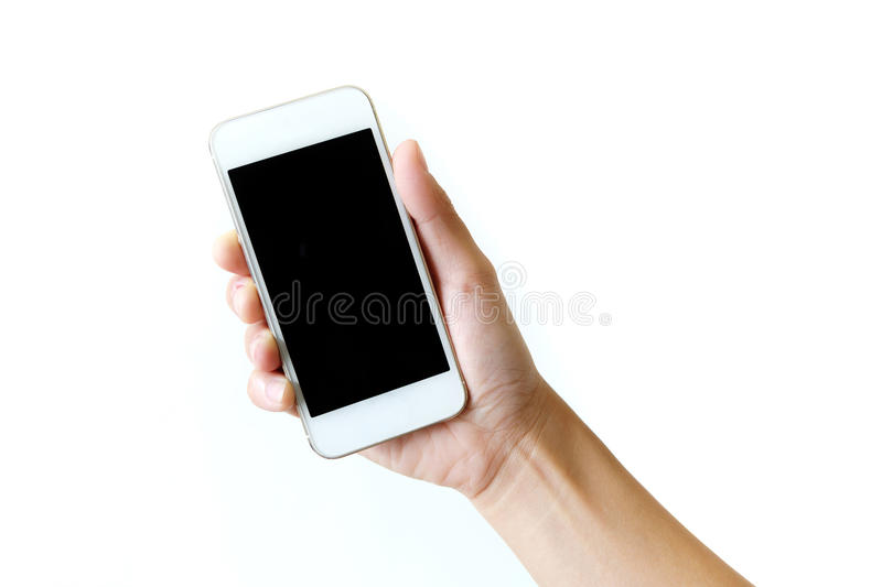 Smartphone in right hand. stock image