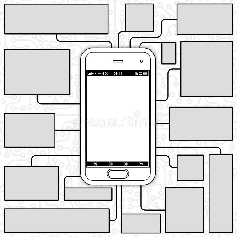 Smartphone ritning stock illustrationer