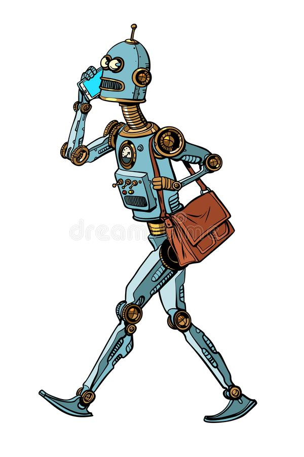 Smartphone and robot, new technology. artificial intelligence sc royalty free illustration