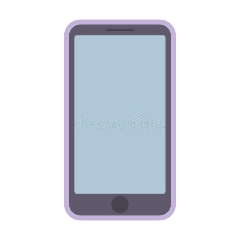 Smartphone rosado púrpura con la pantalla vacía azul en el fondo blanco Vector rosado eps10 del icono del smartphone del teléfono libre illustration
