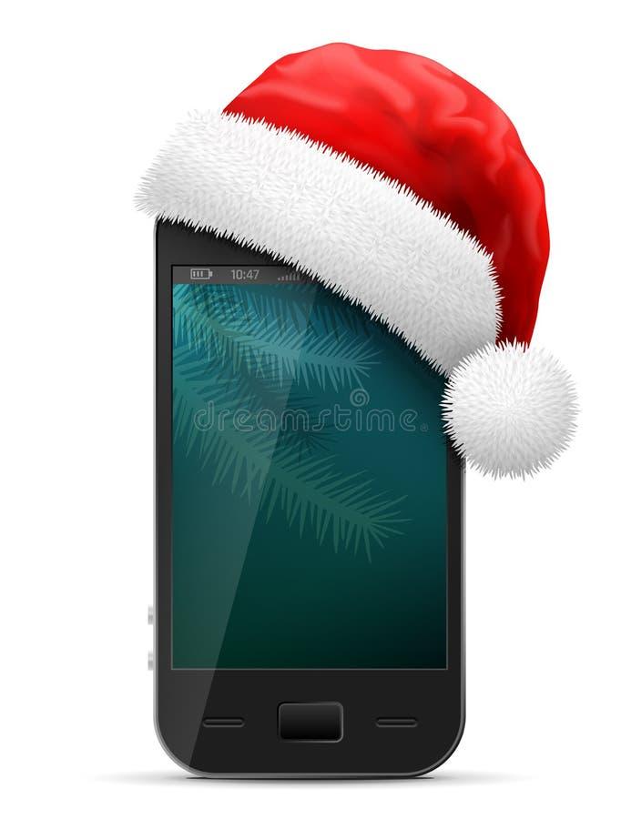 Smartphone in rotem Santa Claus-Hut stockbild