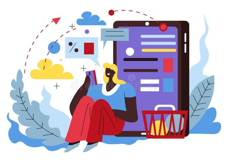 Smartphone, roupa da compra da mulher, app de compra em linha ilustração do vetor