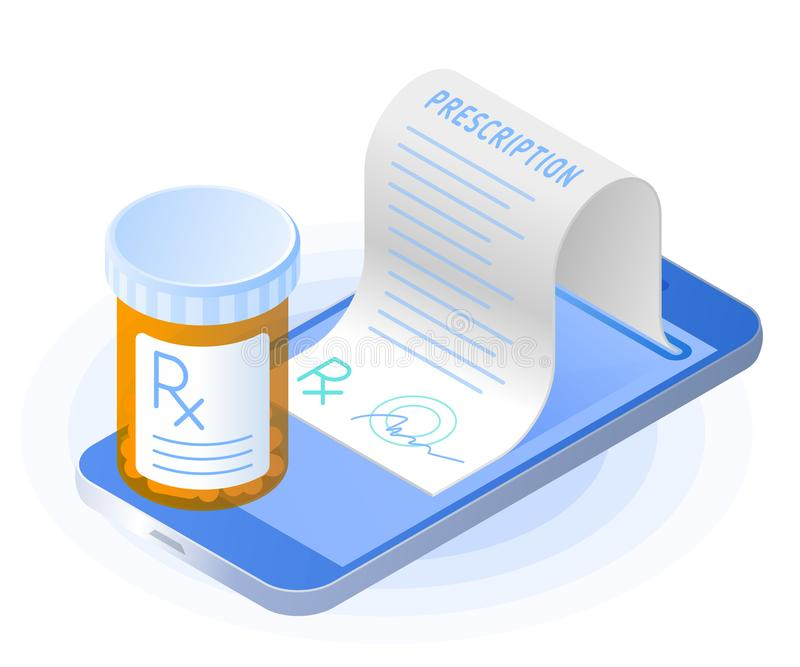 The smartphone, rx prescription from the screen, pill bottle. The smartphone, doctor online writes the medical prescription, pill bottle. Flat vector isometric stock illustration