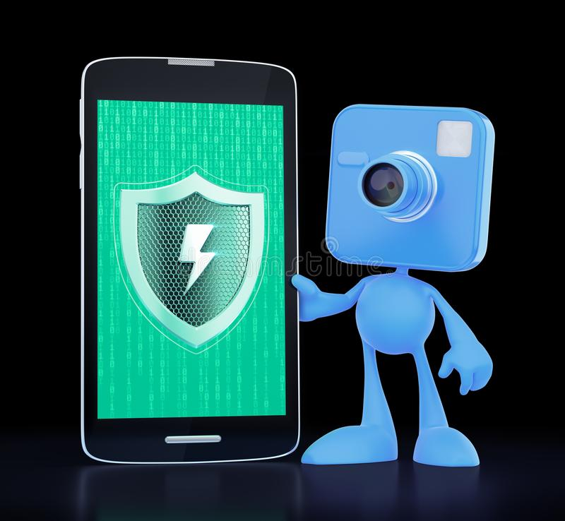 Smartphone`s Camera Under Protection royalty free illustration