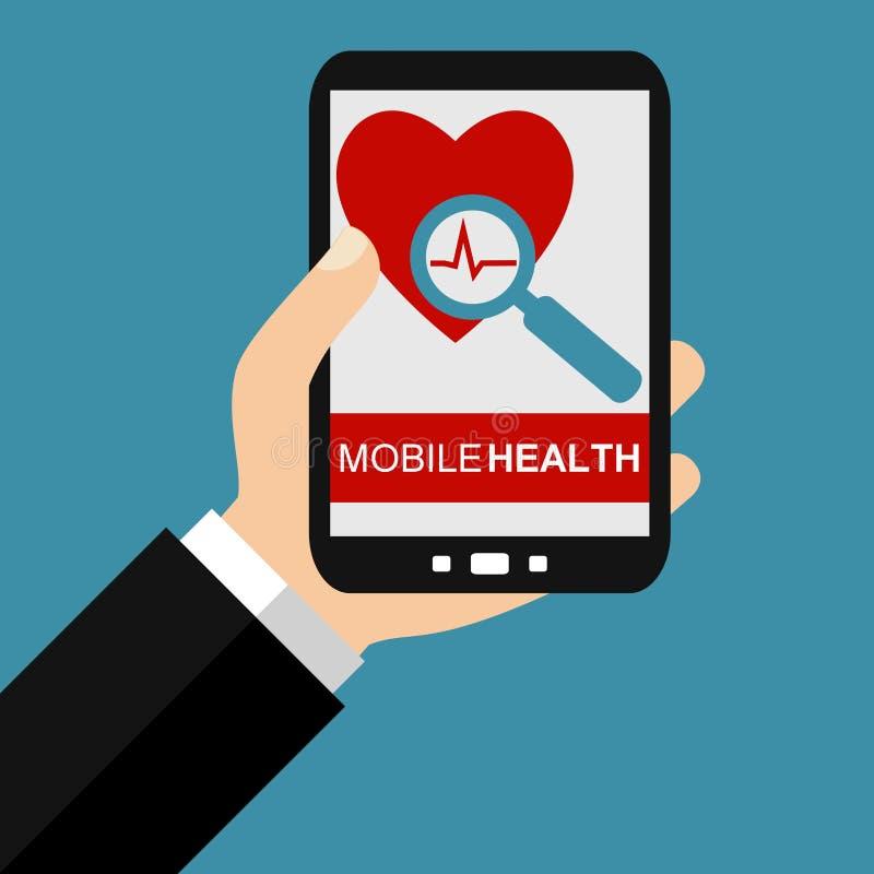 Smartphone: Salud móvil - diseño plano stock de ilustración