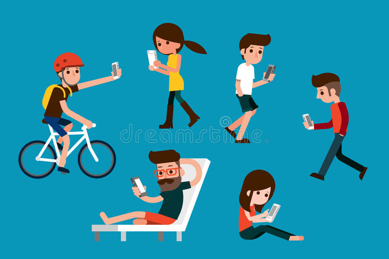 Smartphone samhälle stock illustrationer