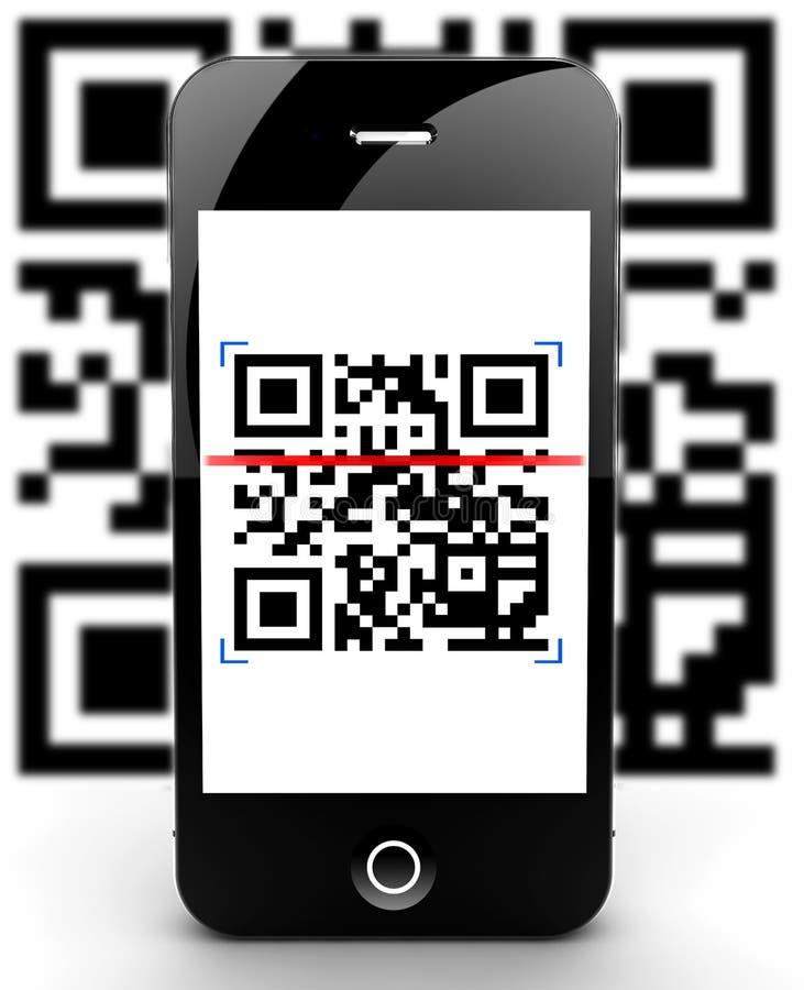 Smartphone scanning code out of focus. Illustration of a smartphone scanning a QR code royalty free illustration