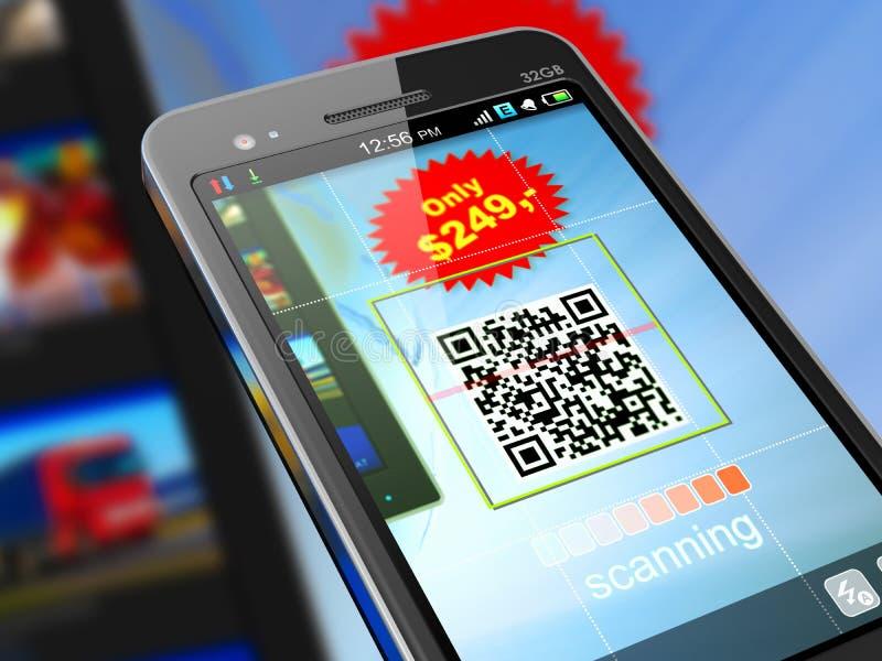 Smartphone scanning QR code royalty free illustration